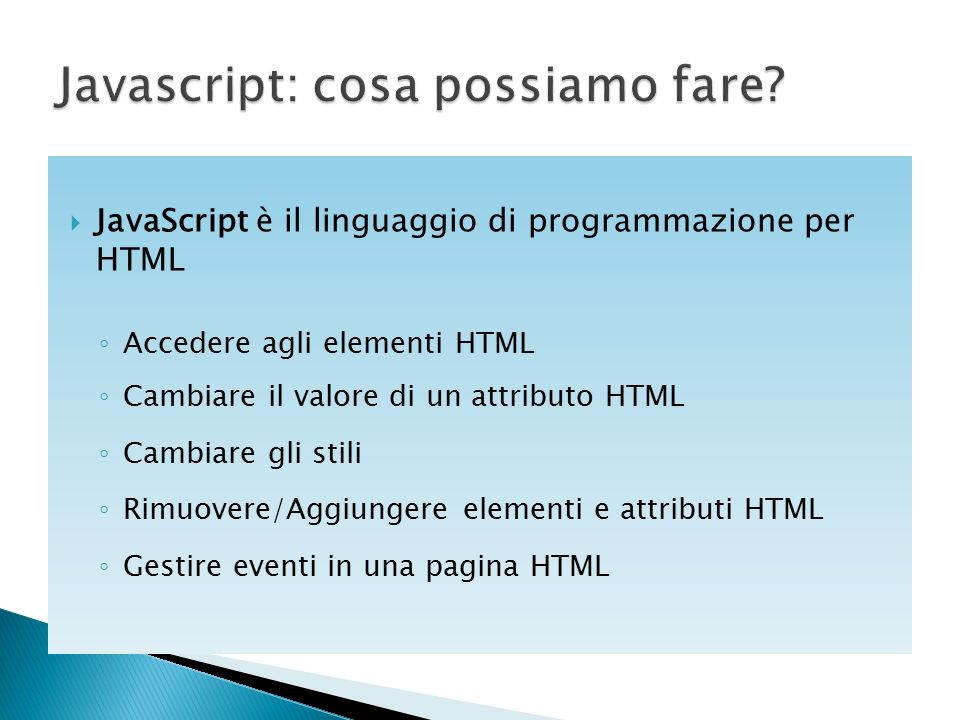 Javascript: cosa possiamo fare