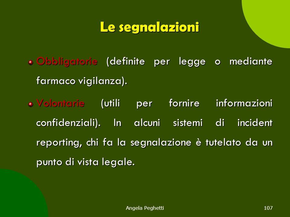 Le segnalazioni Obbligatorie (definite per legge o mediante farmaco vigilanza).