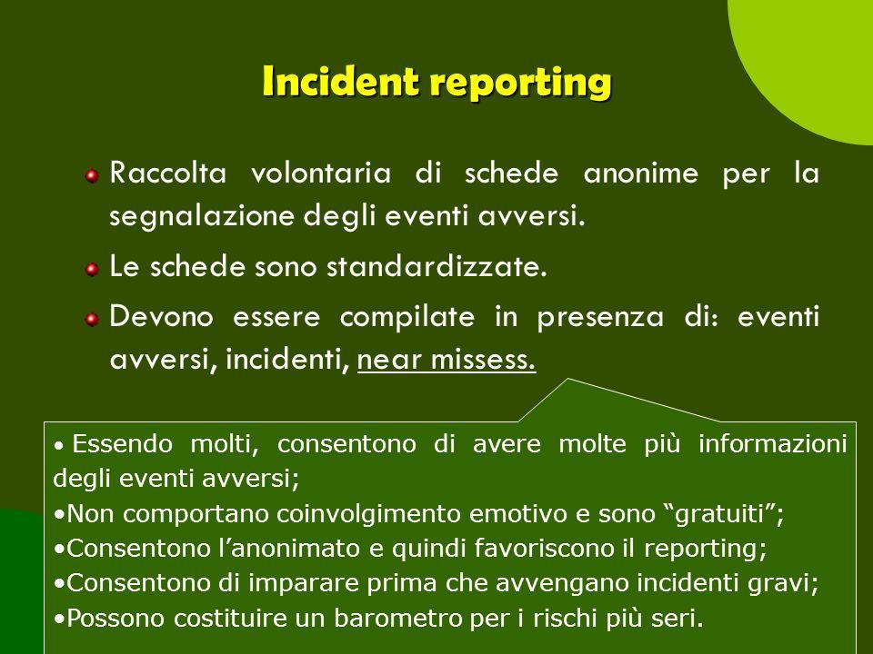 Incident reporting Raccolta volontaria di schede anonime per la segnalazione degli eventi avversi. Le schede sono standardizzate.
