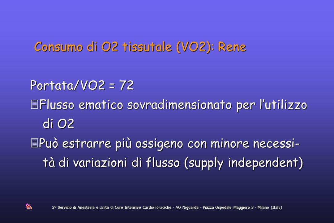 Consumo di O2 tissutale (VO2): Rene
