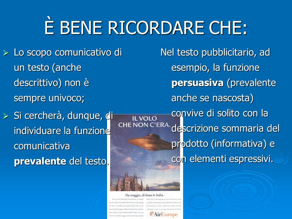 È BENE RICORDARE CHE: Lo scopo comunicativo di un testo (anche descrittivo) non è sempre univoco;