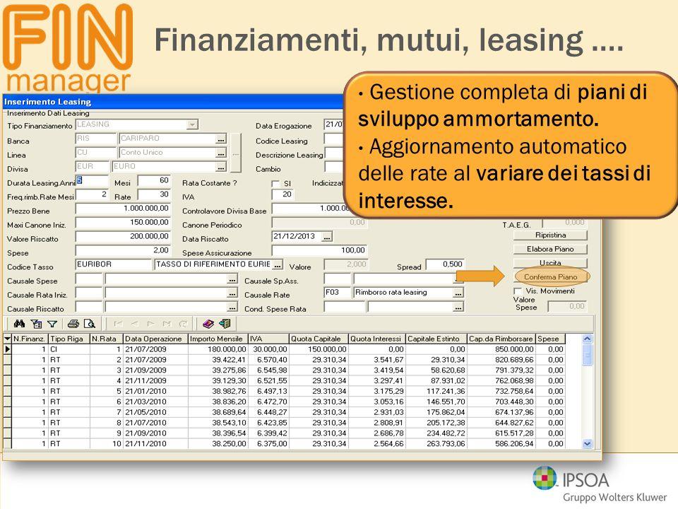 Finanziamenti, mutui, leasing ….