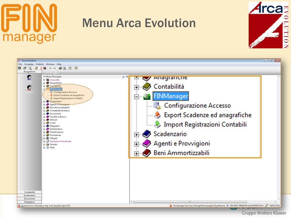 Menu Arca Evolution