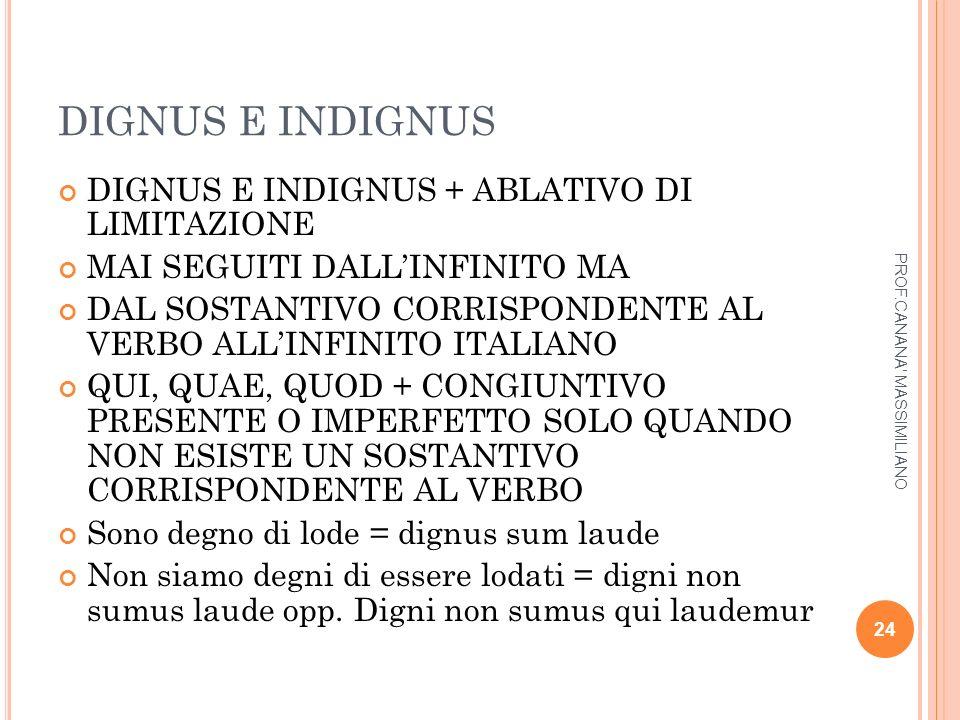DIGNUS E INDIGNUS DIGNUS E INDIGNUS + ABLATIVO DI LIMITAZIONE
