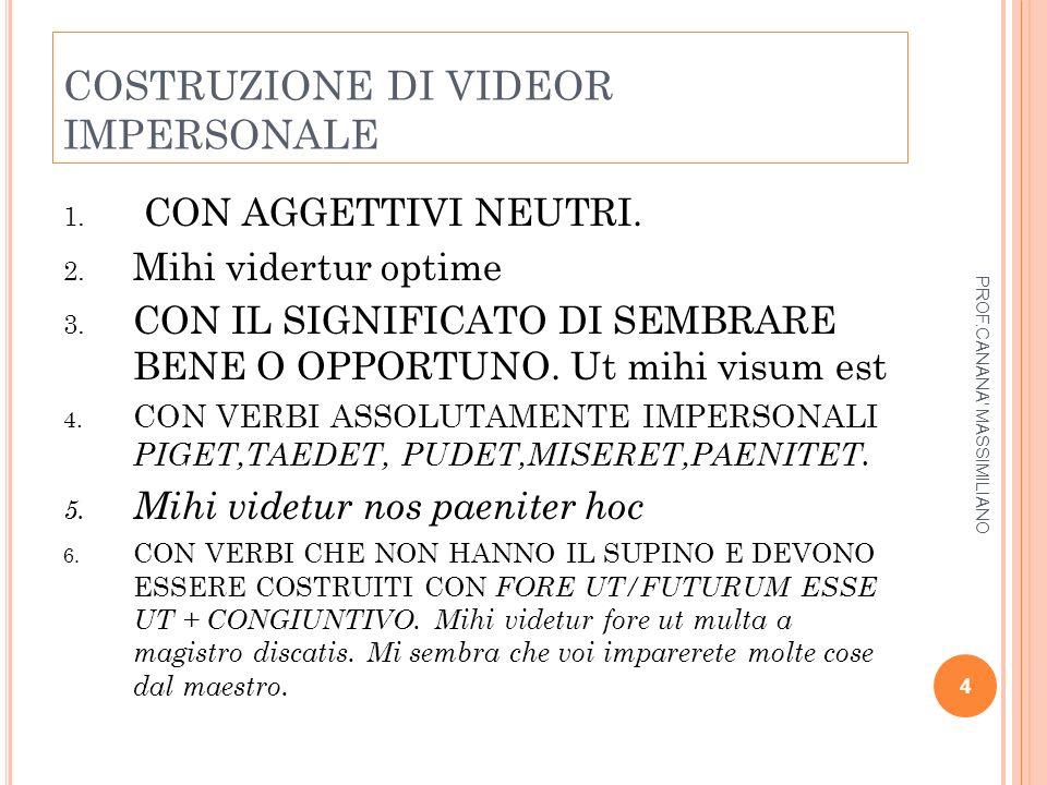 COSTRUZIONE DI VIDEOR IMPERSONALE