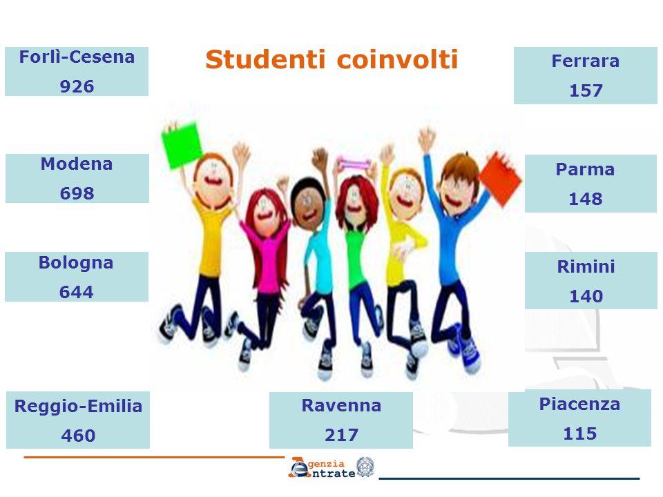 Studenti coinvolti Forlì-Cesena 926 Ferrara 157 Modena 698 Bologna 644