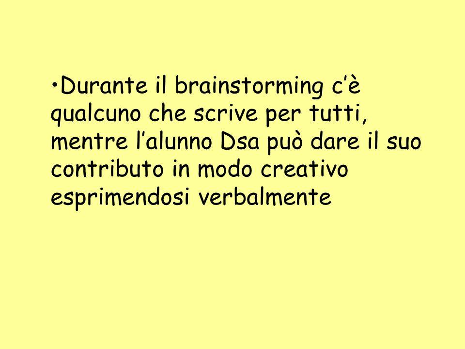 Durante il brainstorming c'è qualcuno che scrive per tutti, mentre l'alunno Dsa può dare il suo contributo in modo creativo esprimendosi verbalmente