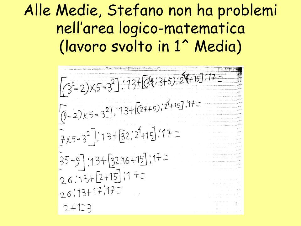 Alle Medie, Stefano non ha problemi nell'area logico-matematica (lavoro svolto in 1^ Media)