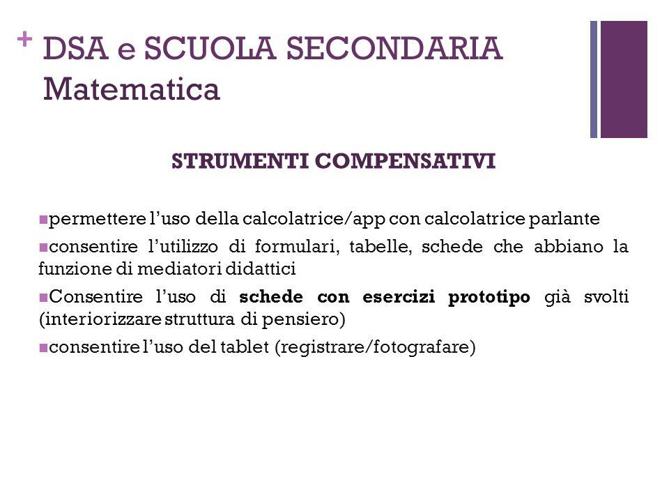 DSA e SCUOLA SECONDARIA Matematica