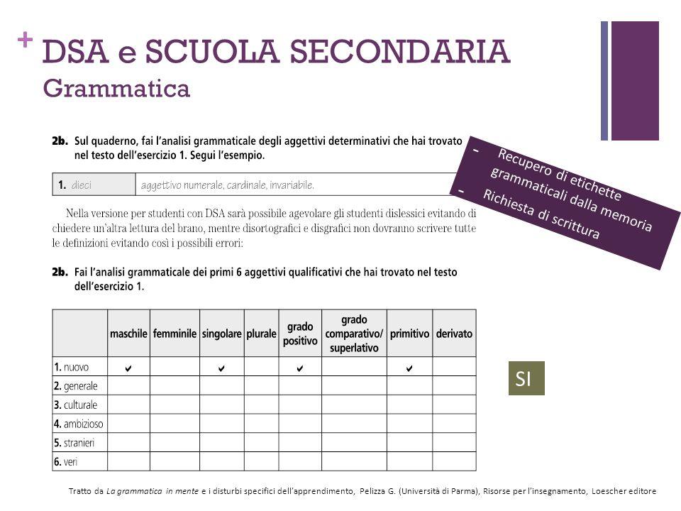 DSA e SCUOLA SECONDARIA Grammatica