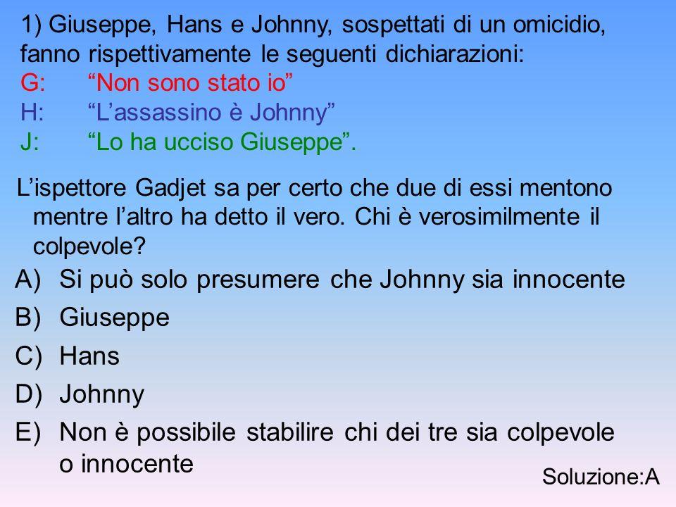 Si può solo presumere che Johnny sia innocente Giuseppe Hans Johnny