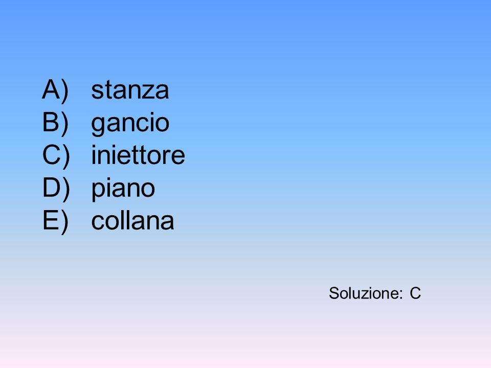 A) stanza B) gancio C) iniettore D) piano E) collana