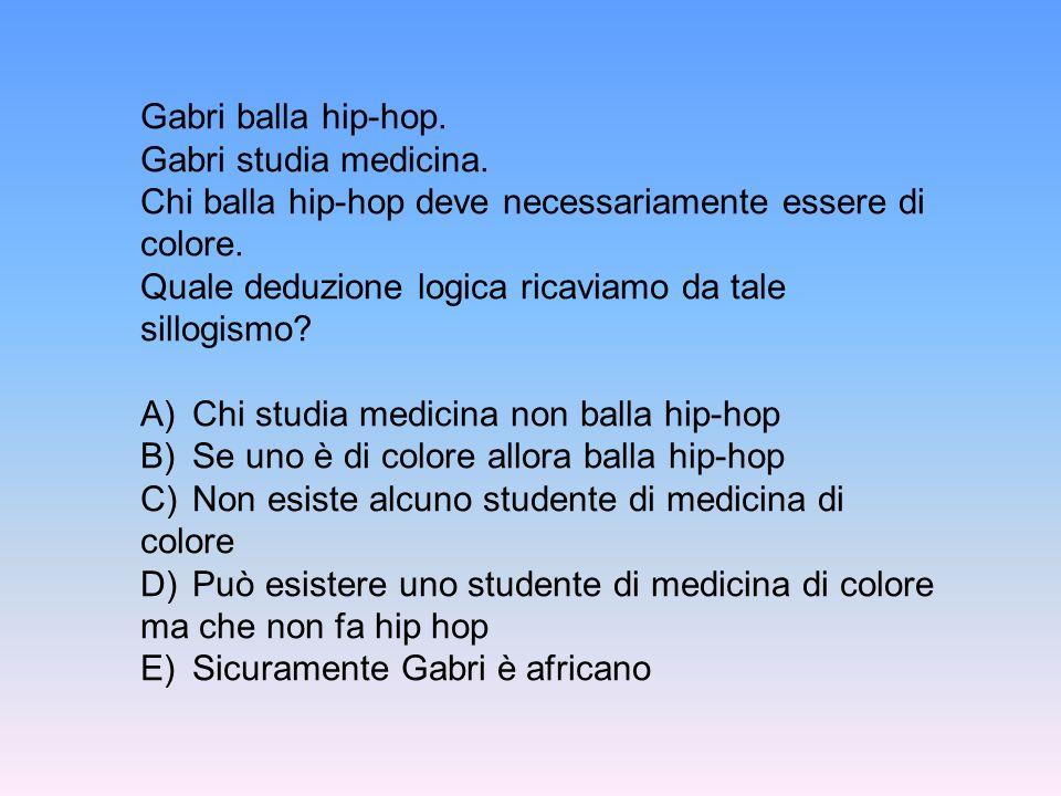 Gabri balla hip-hop. Gabri studia medicina. Chi balla hip-hop deve necessariamente essere di colore.