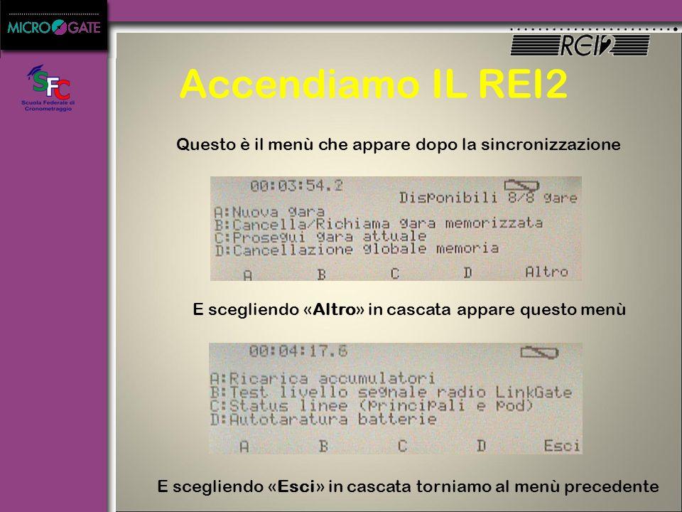 Accendiamo IL REI2 Questo è il menù che appare dopo la sincronizzazione. E scegliendo «Altro» in cascata appare questo menù.