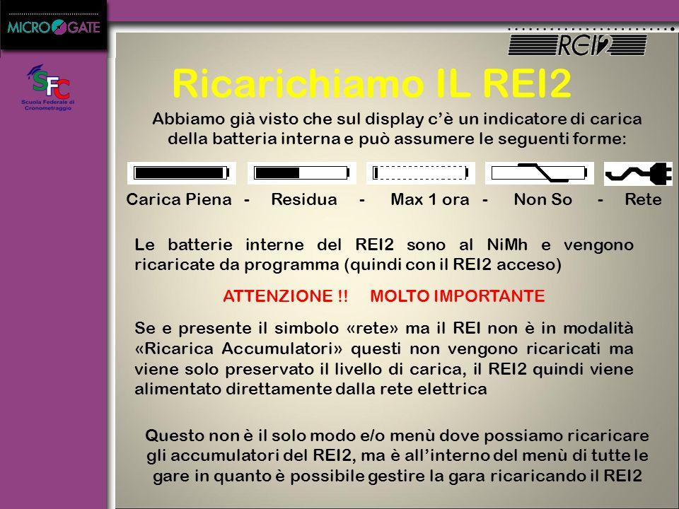 Ricarichiamo IL REI2 Abbiamo già visto che sul display c'è un indicatore di carica della batteria interna e può assumere le seguenti forme: