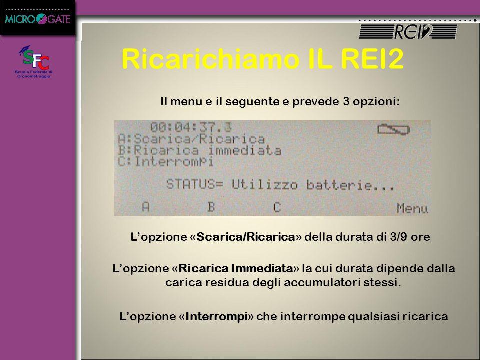 Ricarichiamo IL REI2 Il menu e il seguente e prevede 3 opzioni: