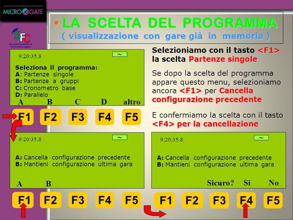 LA SCELTA DEL PROGRAMMA ( visualizzazione con gare già in memoria )