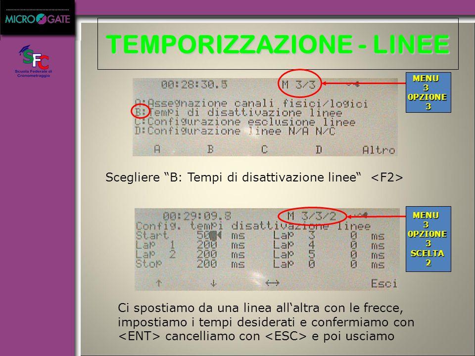TEMPORIZZAZIONE - LINEE