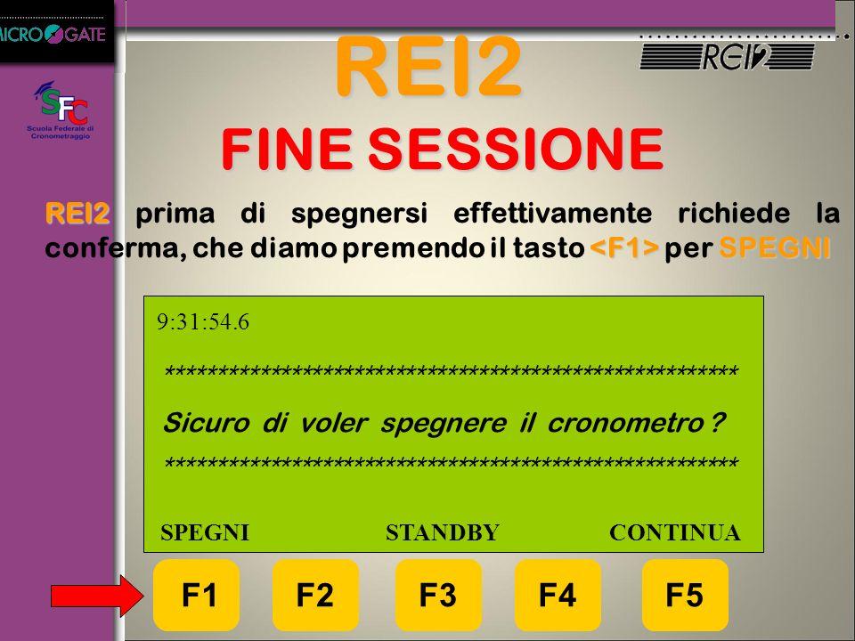 REI2 FINE SESSIONE REI2 prima di spegnersi effettivamente richiede la conferma, che diamo premendo il tasto <F1> per SPEGNI.
