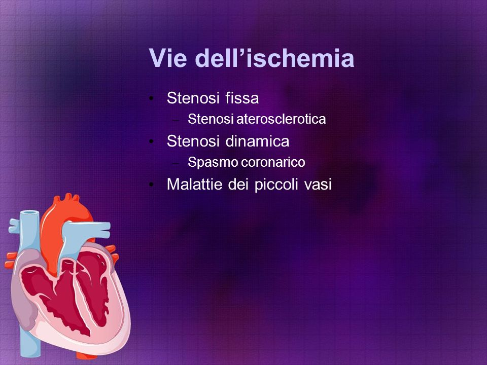 Vie dell'ischemia Stenosi fissa Stenosi dinamica