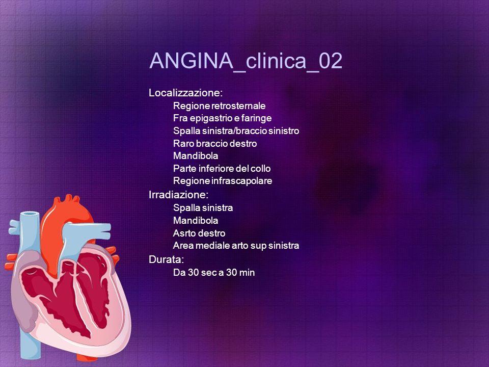 ANGINA_clinica_02 Localizzazione: Irradiazione: Durata: