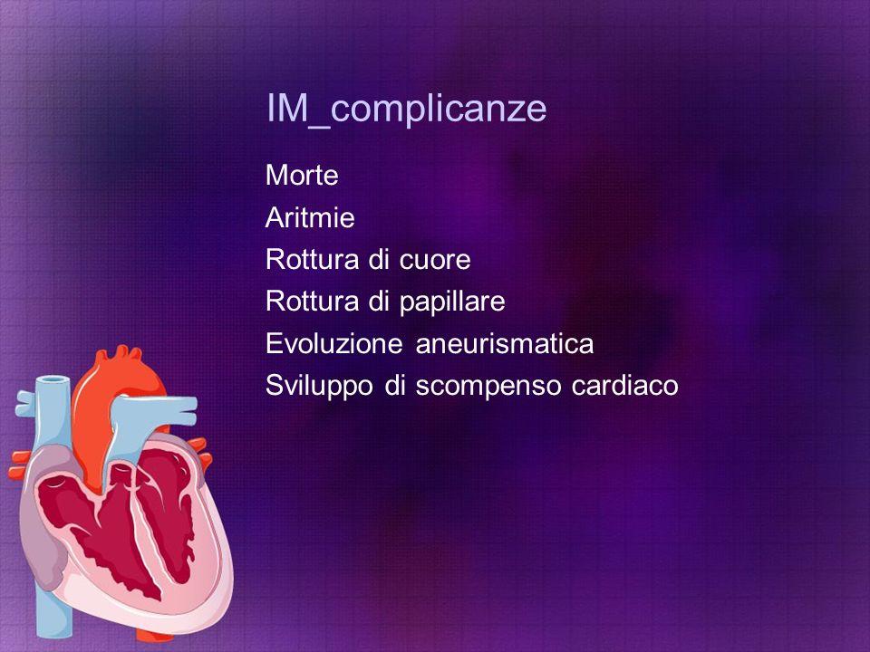 IM_complicanze Morte Aritmie Rottura di cuore Rottura di papillare