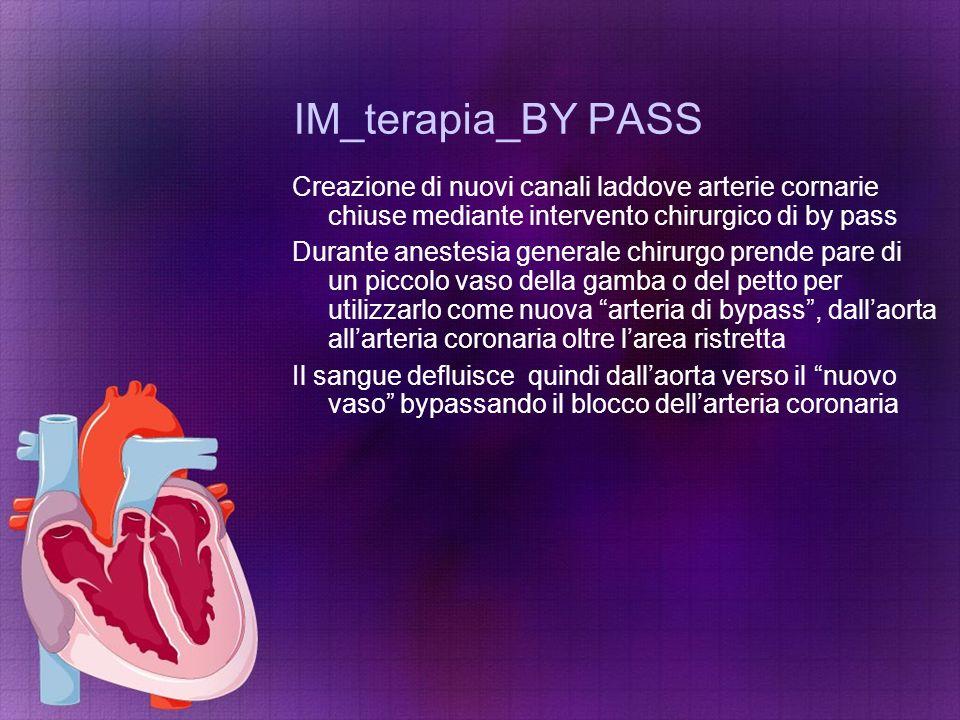 IM_terapia_BY PASS Creazione di nuovi canali laddove arterie cornarie chiuse mediante intervento chirurgico di by pass.