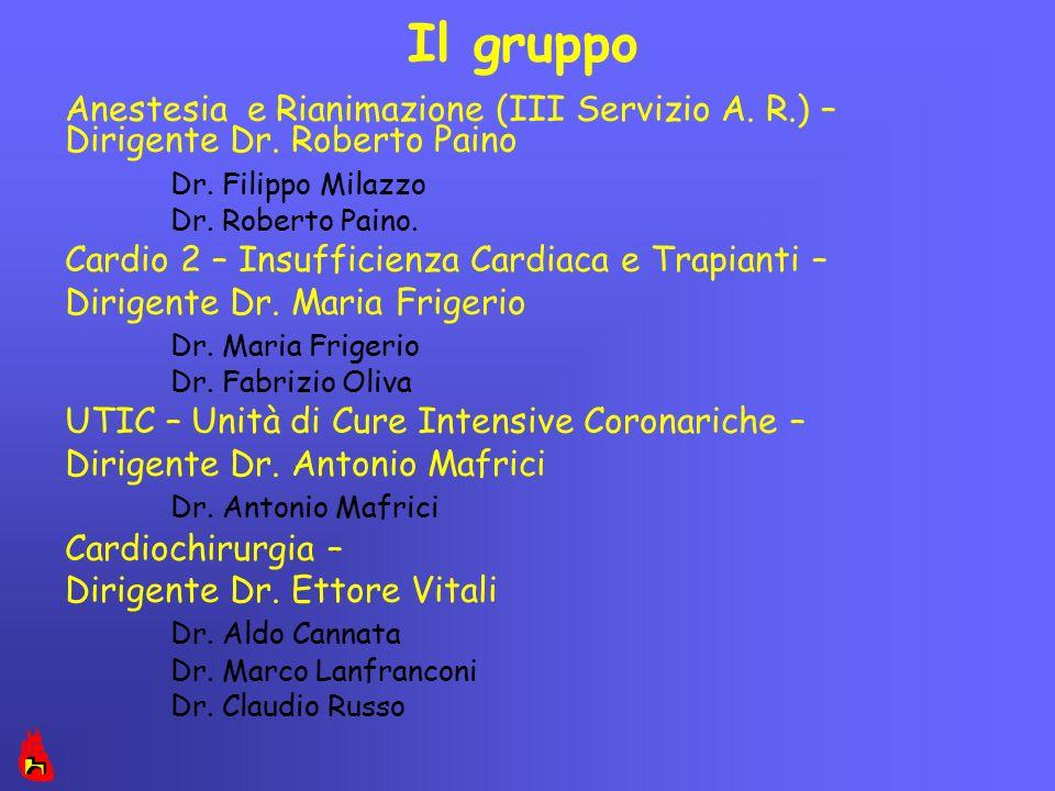 Il gruppo Anestesia e Rianimazione (III Servizio A. R.) – Dirigente Dr. Roberto Paino. Dr. Filippo Milazzo.