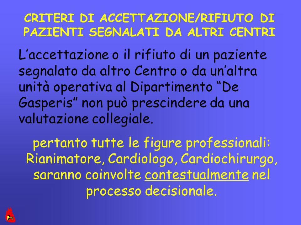 CRITERI DI ACCETTAZIONE/RIFIUTO DI PAZIENTI SEGNALATI DA ALTRI CENTRI