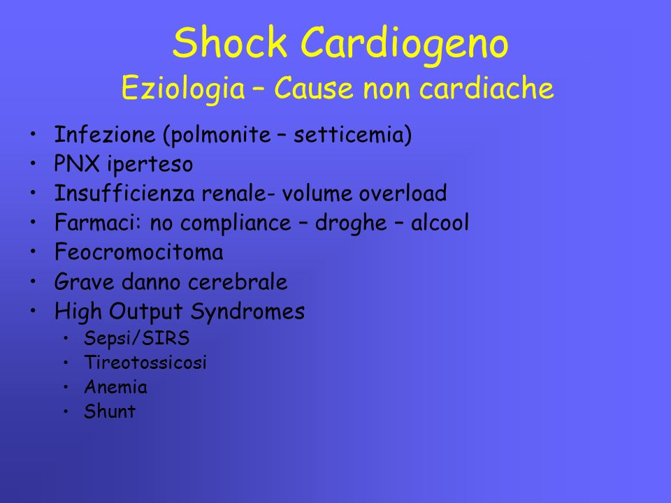 Eziologia – Cause non cardiache