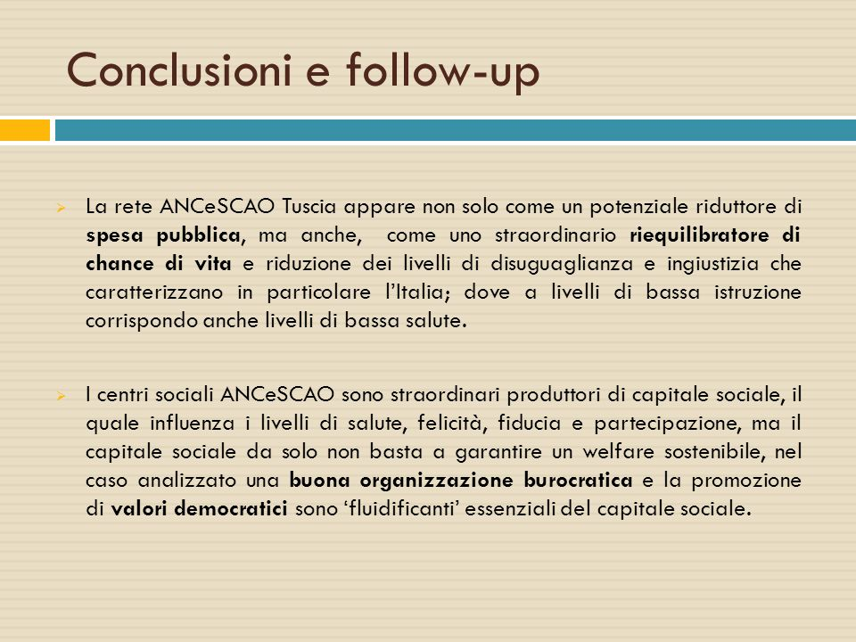 Conclusioni e follow-up