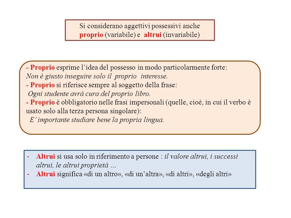 Si considerano aggettivi possessivi anche proprio (variabile) e altrui (invariabile)