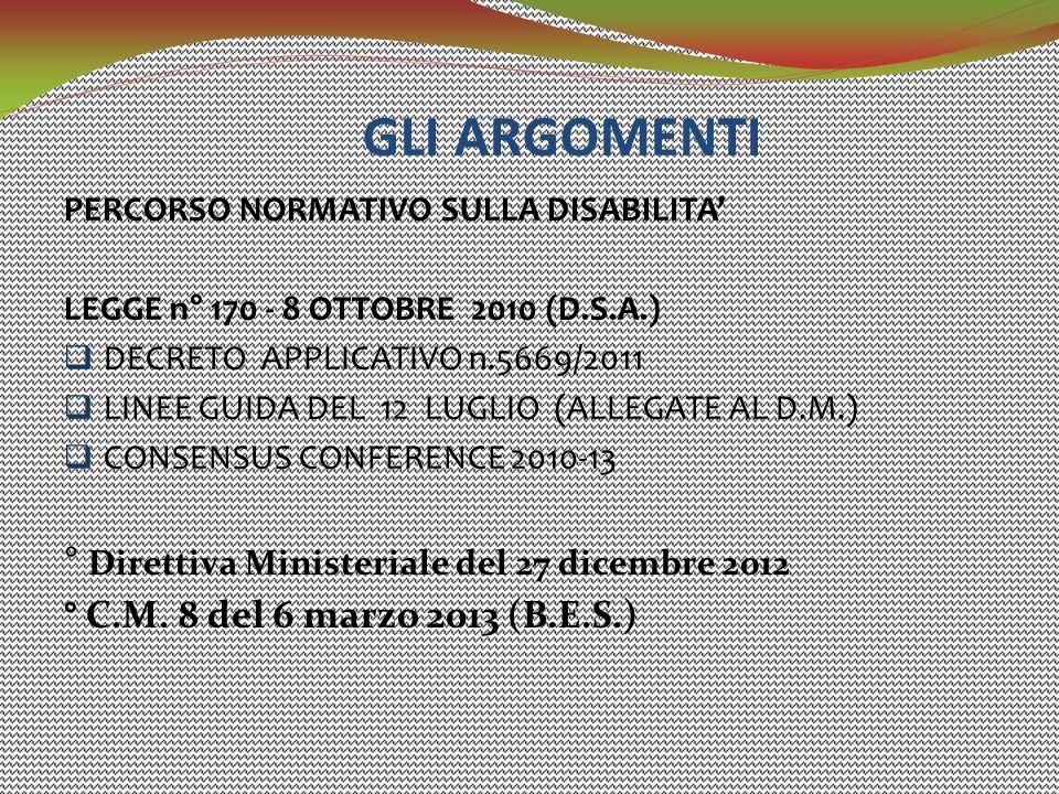 GLI ARGOMENTI ° Direttiva Ministeriale del 27 dicembre 2012