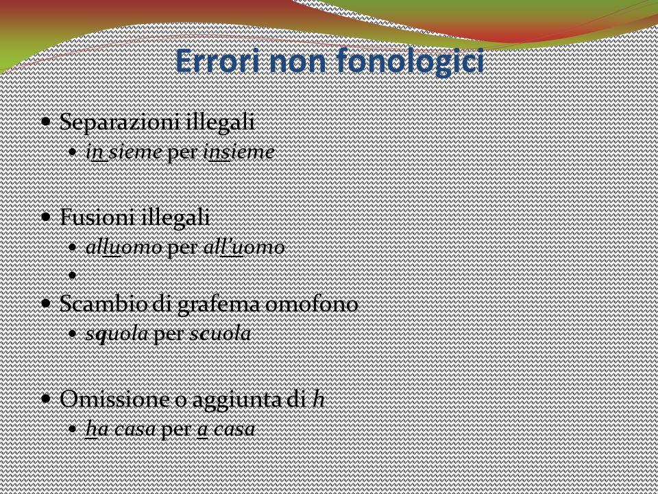 Errori non fonologici Separazioni illegali Fusioni illegali