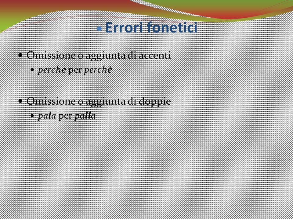 Errori fonetici Omissione o aggiunta di accenti