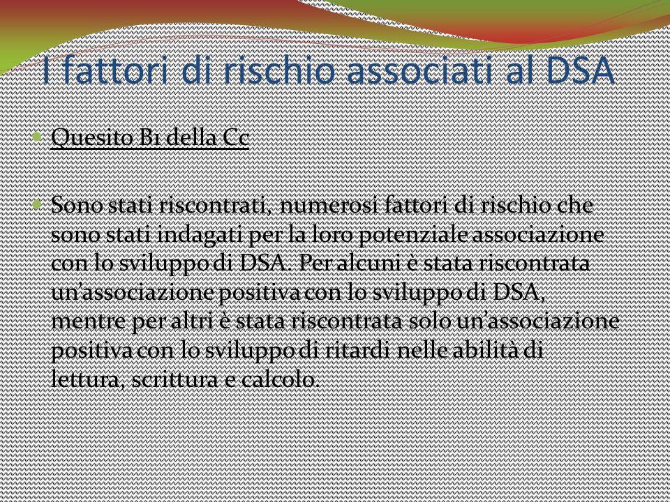 I fattori di rischio associati al DSA