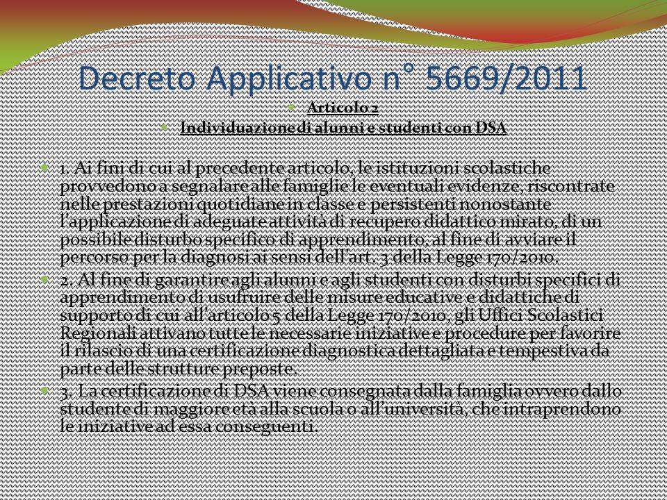 Decreto Applicativo n° 5669/2011
