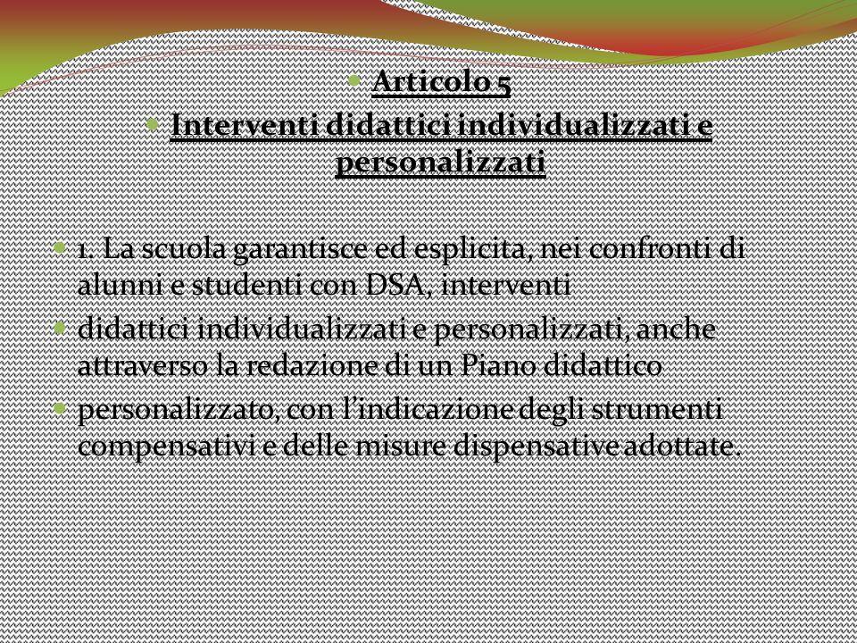 Interventi didattici individualizzati e personalizzati