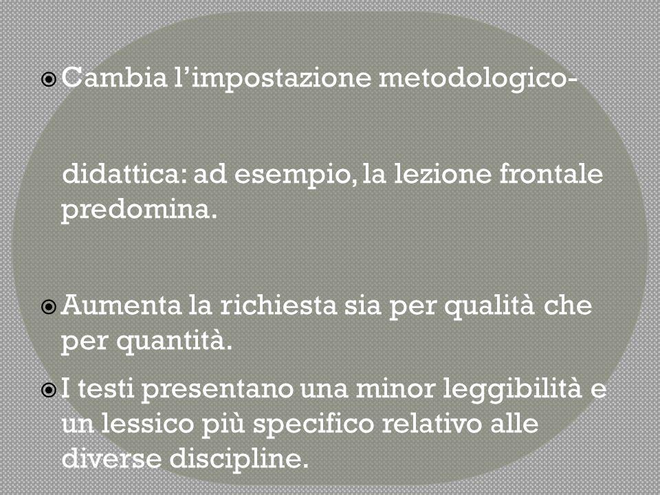 Cambia l'impostazione metodologico-