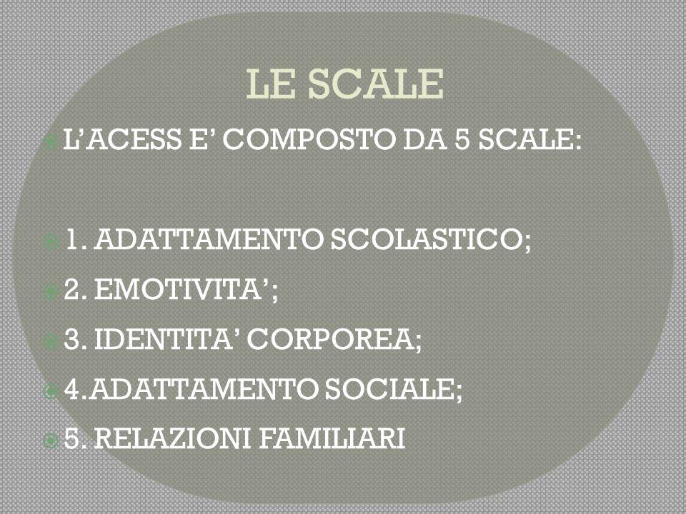 LE SCALE L'ACESS E' COMPOSTO DA 5 SCALE: 1. ADATTAMENTO SCOLASTICO;