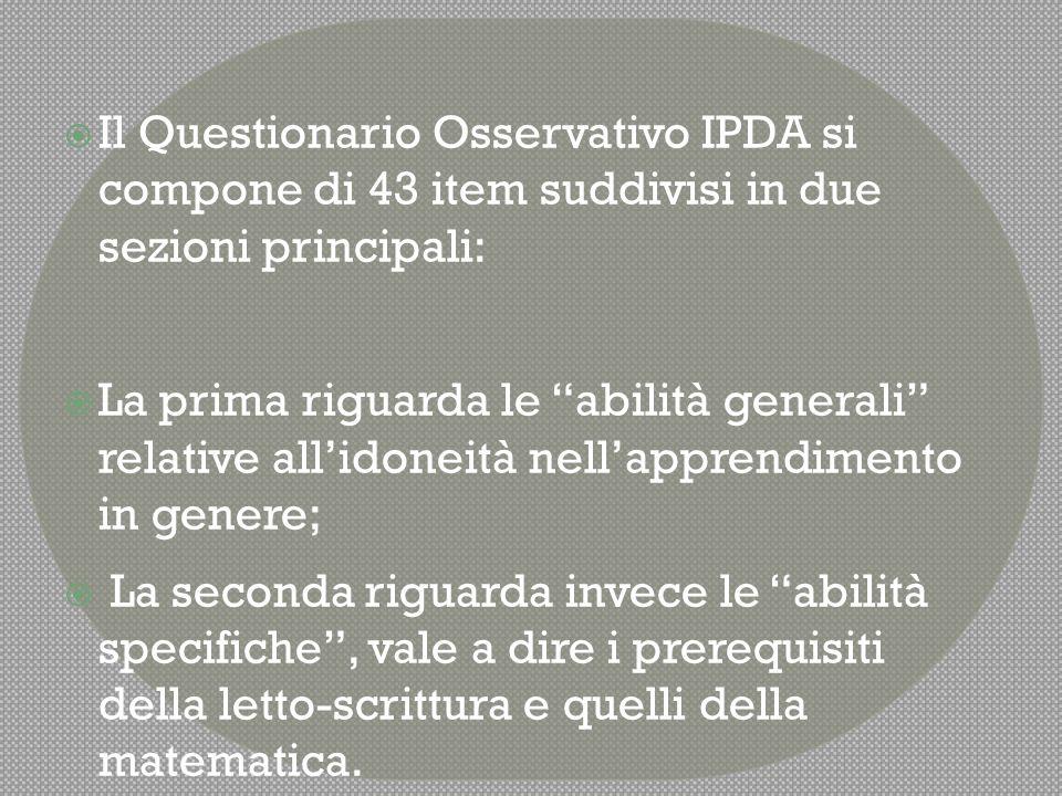 Il Questionario Osservativo IPDA si compone di 43 item suddivisi in due sezioni principali: