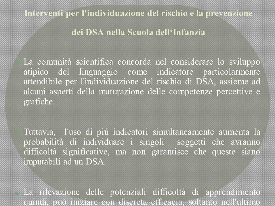 Interventi per I individuazione del rischio e la prevenzione dei DSA nella Scuola dell'Infanzia