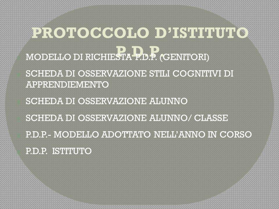 PROTOCCOLO D'ISTITUTO P.D.P.