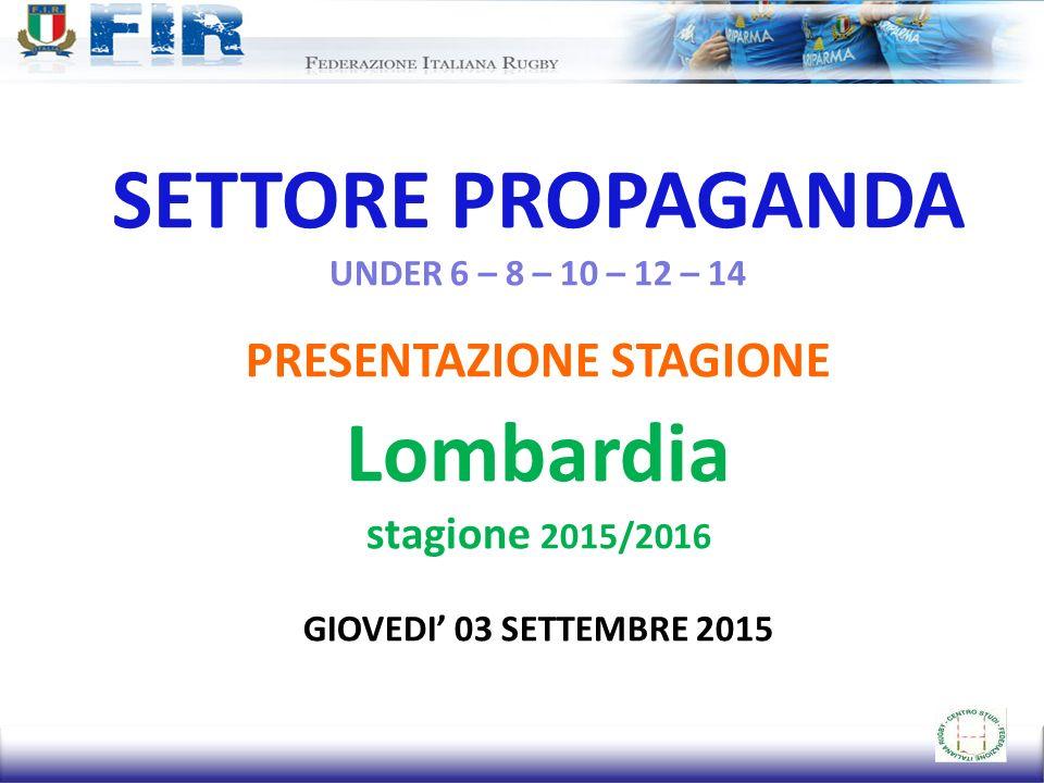 SETTORE PROPAGANDA UNDER 6 – 8 – 10 – 12 – 14 PRESENTAZIONE STAGIONE Lombardia stagione 2015/2016