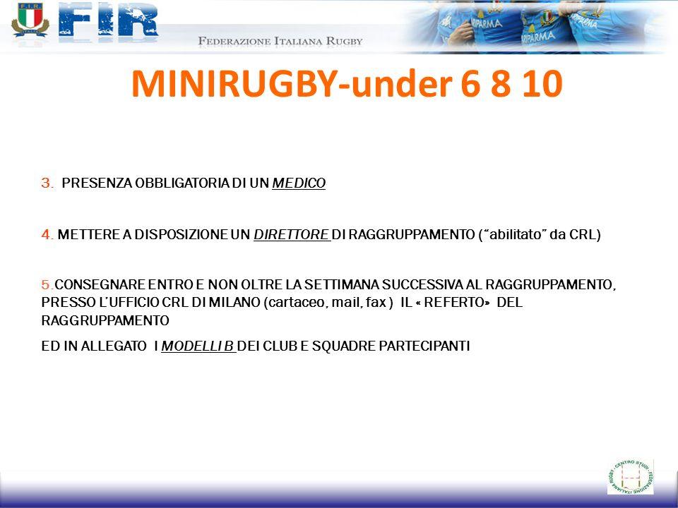 MINIRUGBY-under 6 8 10 3. PRESENZA OBBLIGATORIA DI UN MEDICO
