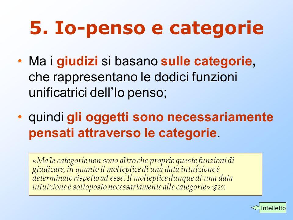 5. Io-penso e categorie Ma i giudizi si basano sulle categorie, che rappresentano le dodici funzioni unificatrici dell'Io penso;