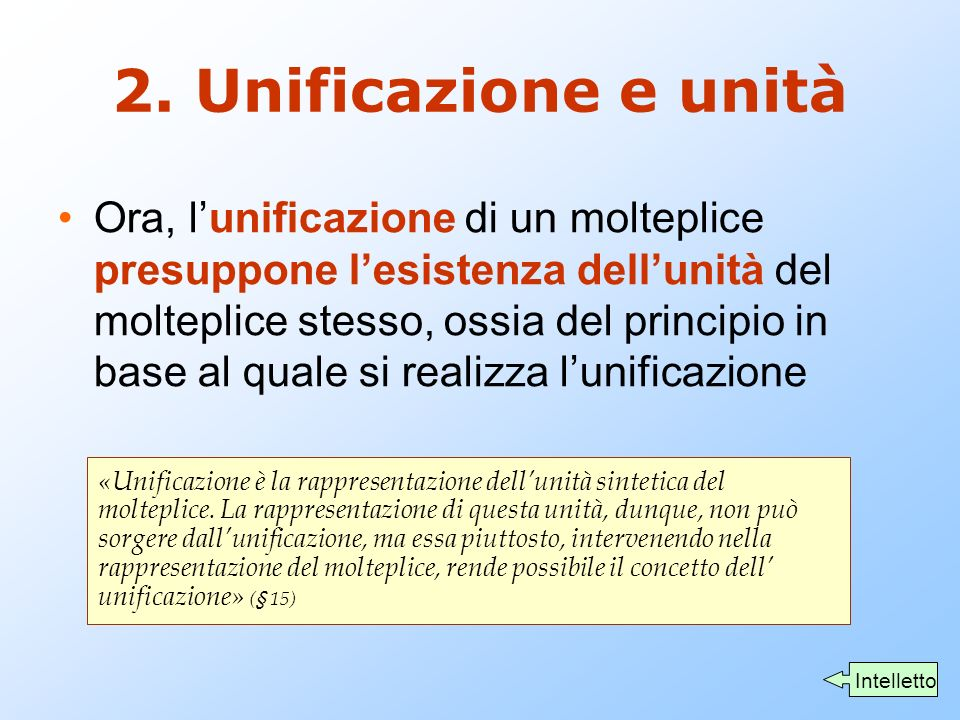 2. Unificazione e unità
