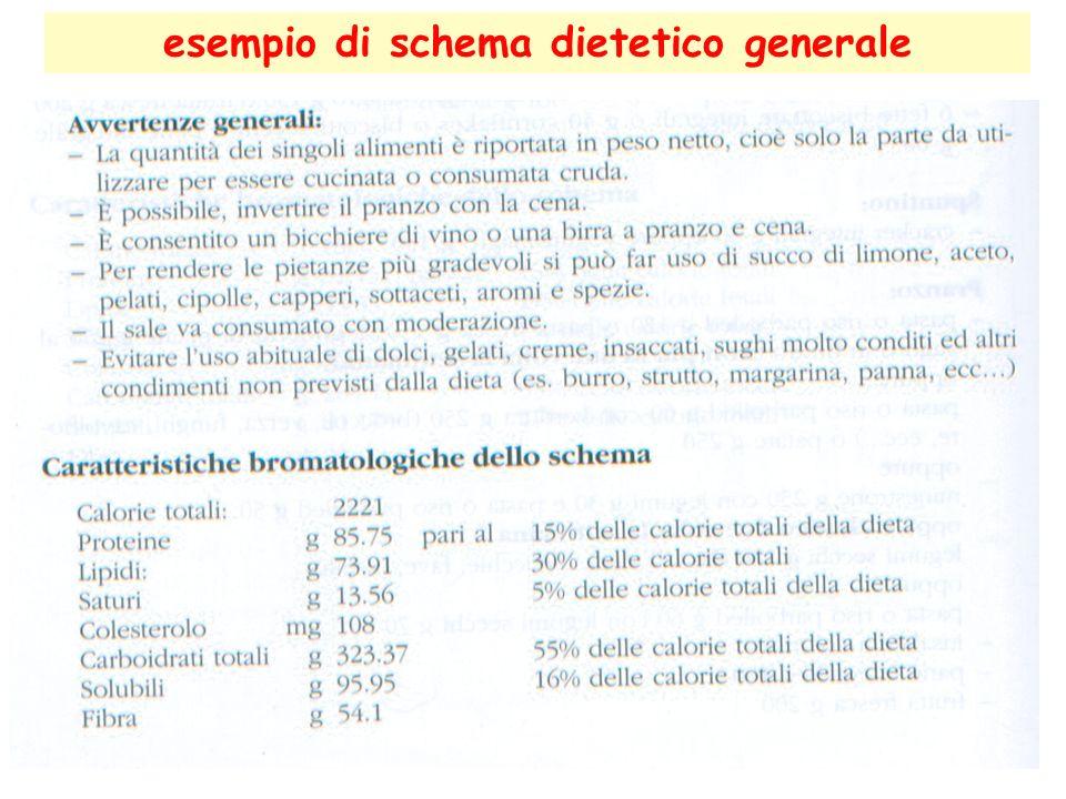 esempio di schema dietetico generale