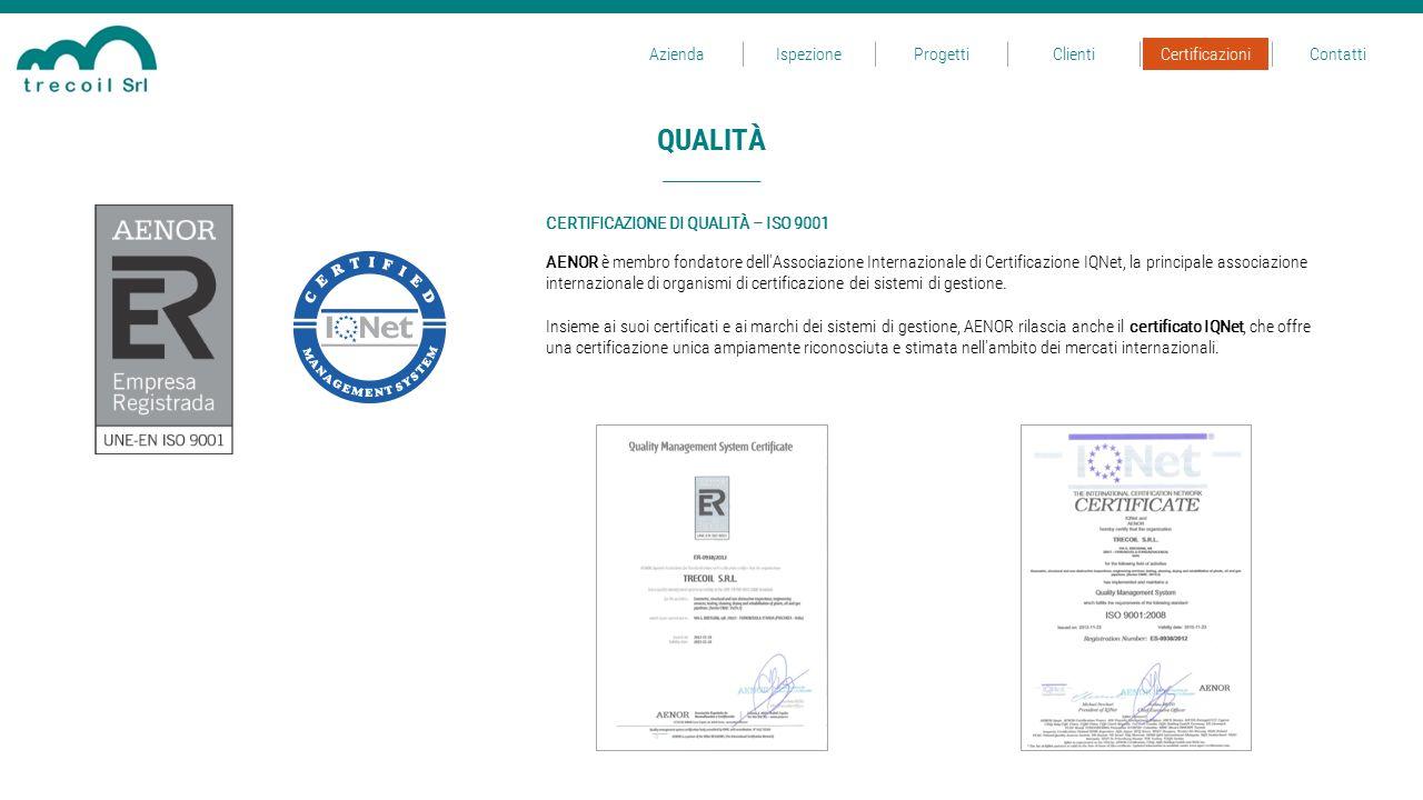 QUALITÀ Azienda Ispezione Progetti Clienti Certificazioni Contatti