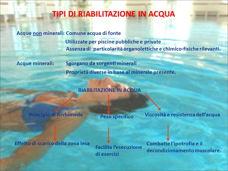 Tipi di riabilitazione in acqua